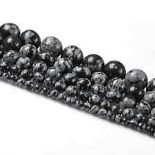 Natural Snowflake Obsidian Gemstone Round Spacer Beads Findings 4/6/8/10/12mm