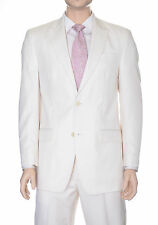 Sean John Regular Fit Cream Tonal Striped Two Button Suit With Peak Lapels