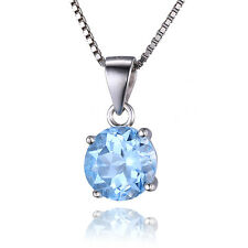 2.4ct Genuine Sky Blue Topaz Pendant Necklace Chain Solid 925 Sterling Silver