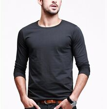 Slim Fitted Mens Long Sleeve T-shirt Crewneck Solid Basic Tee L XL XXL 7 Colors
