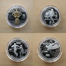Rugby World Cup Champions Silver Proof Coins - England-Australia-NZ-South Arfica