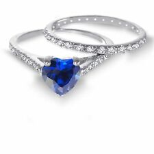 White Gold Heart Cut Blue Sapphire CZ 1.92 CT Wedding Engagement Silver Ring Set