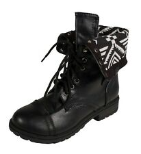 ORALEE-2! Soda Kid's Girl's Military Combat Lace-up Fold-over Ankle Boots