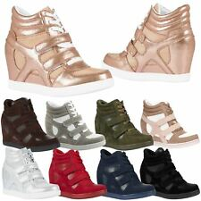 Thea Womens Concealed Wedges Heels Trainers Ladies High Top Shoes Pumps Size New