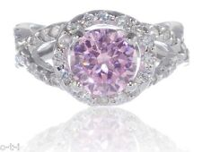 Genuine 925 Sterling Silver Infinity Halo Pink Sapphire Round CZ Engagement Ring