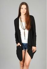 Splendid Thermal Open Cardigan with Hood Black Jersey Modal Cotton NWT Size XS-L