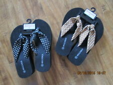 NEW WOMEN'S FLIP FLOP SANDALS~SUMMER CLEARANCE~BLACK &WHITE or TAN & WHITE STRAP