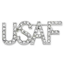 PinMart's Rhinestone USA Military USAF Air Force Patriotic Jewelry Brooch Pin