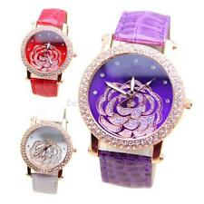 Women Faux Leather Band Golden Crystal Rose Flower Dial Analog Wrist Watch B31