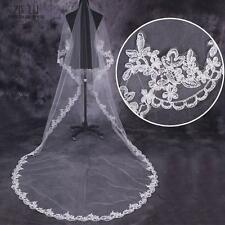 Lace Edge One-Layer 3M High Quality White/Ivory Wedding Veils Free Shipping