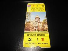1968 NCAA FOOTBALL TICKET NOTRE DAME FIGHTING IRISH VS GEORGIA TECH DECENT CONDI