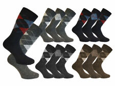 6 Pairs Mens Argyle Wool Thermal Socks Shoe Size 6-11 Diamond Walking Winter Sox