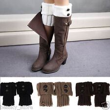 2015 Winter Women Leg Warmers Button Crochet Knit  Cuff Boot Socks Stockings