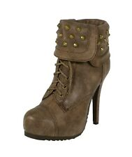 SWAMP! Women's Biker Studs Lace Up High Heel Platform Ankle Bootie