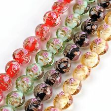 1 Strand Womens Lampwork Glass Coin Loose Beads Jewelry Findings DIY Gift 12mm