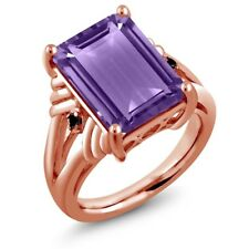 7.13 Ct Octagon Purple Amethyst Black Diamond 18K Rose Gold Plated Silver Ring
