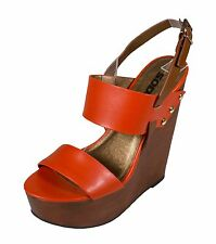 CHEF! Soda Women's Double-Band Slingback Platform Wedge Sandals