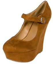 KAYLA! Delicious Women's Mary Jane Buckle Strap Platform Wedge Pumps