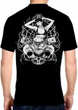 Mens Biker Babe Pair Of Dice Skulls And Flames Hanes Beefy-T Biker T-shirt