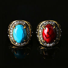 Men Women Unisex Unique Design Vintage Turquoise Rhinestone Golden Alloy Ring