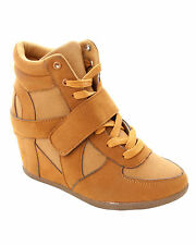 WOMENS TAN LACE UP WEDGE HI HIGH TOP TRAINERS ANKLE BOOTS LADIES UK SIZE 3-8