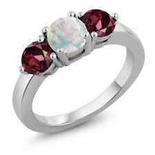 1.93 Ct Round White Simulated Opal Red Rhodolite Garnet 925 Sterling Silver Ring