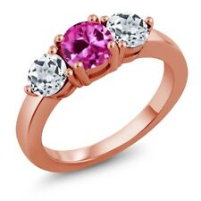2.20 Ct Round Pink Created Sapphire White Topaz 18K Rose Gold Plated Silver Ring
