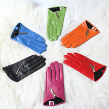 Lady Genuine Sheep Leather Sheepskin Lambskin Winter Motorcycle Thermal Gloves