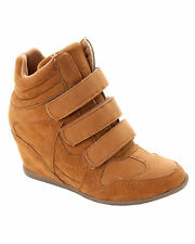 WOMENS TAN WEDGE HI HIGH TOP TRAINERS ANKLE BOOTS SHOES LADIES UK SIZE 3-8