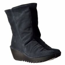 Womens Fly London Yara Mid Calf Oil Suede Winter Boot Mid Wedge Deep Black Taupe