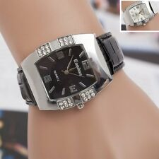 Fashion Vogue Women Lady Crystal Dial Quartz Analog Leather Bracelet Wrist Watch