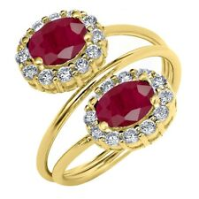 2.82 Ct Oval Red Ruby 18K Yellow Gold Plated Silver Ring