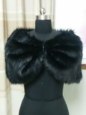 NEW Black Plush Faux Fur Bridal Wedding Jacket Cape Wrap Shrug Bolero Shawls