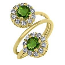 1.60 Ct Round Green Chrome Diopside 18K Yellow Gold Plated Silver Ring