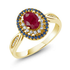 1.62 Ct Oval Red Ruby 18K Yellow Gold Plated Silver Ring