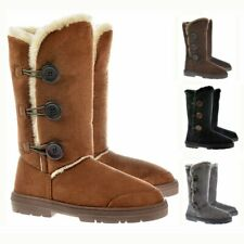 Womens Girls Ella Triple 3 Button Fur Lined Flat Winter Snow Boot Rubber Sole