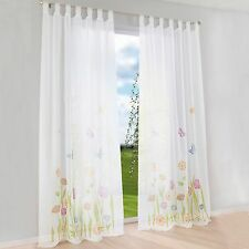 1pcs Floral Curtain With Butterfly Printed Tab Top Windows Curtains Panel Drape