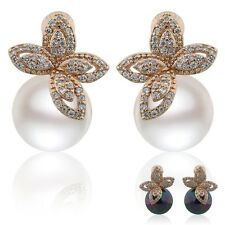 impressive  18k gold filled pearl charm hot Topaz crystal stud earring