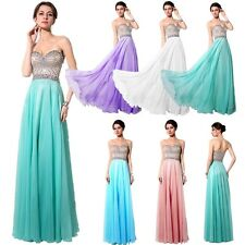 Plus Size Long Formal Prom Evening Dresses Chiffon Beads Cocktail Gown 2 4 22 24