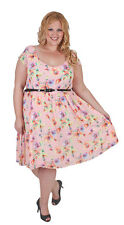 New Plus Size Pink Garden Floral Chiffon Dress With Belt Curvaceous 18 to 28