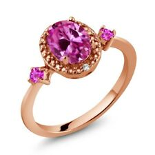 1.82 Ct Pink Created Sapphire Pink Sapphire 18K Rose Gold Plated Silver Ring