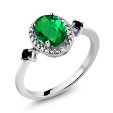 1.14 Ct Oval Green Simulated Emerald Black Diamond 925 Sterling Silver Ring