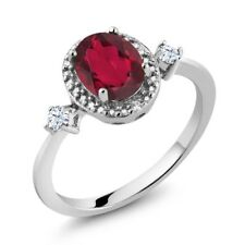 1.41 Ct Oval Ruby Red Mystic Topaz White Created Sapphire 925 Silver Ring