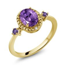 1.13 Ct Oval Purple Amethyst 18K Yellow Gold Plated Silver Ring