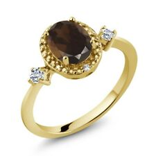 1.37 Ct Oval Brown Smoky Quartz White Topaz 18K Yellow Gold Plated Silver Ring