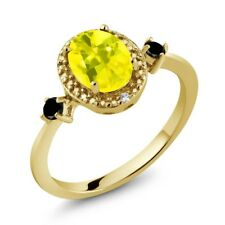 1.44 Ct Canary Mystic Topaz Black Diamond 18K Yellow Gold Plated Silver Ring