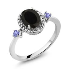 1.42 Ct Oval Black Onyx Tanzanite 925 Sterling Silver Ring With Accent Diamond