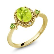 1.25 Ct Yellow Lemon Quartz Green Peridot 18K Yellow Gold Plated Silver Ring