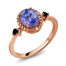 1.30 Ct Oval Blue Tanzanite Black Diamond 18K Rose Gold Plated Silver Ring