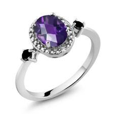 1.14 Ct Amethyst and Black Diamond 925 Sterling Silver Ring With Accent Diamond